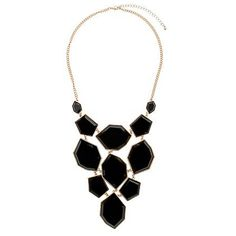 Black Mixed Shape Resin Necklace ($28) ❤ liked on Polyvore