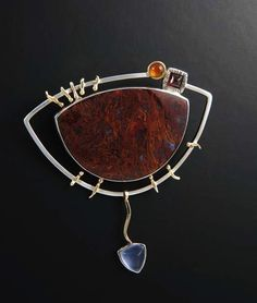 Agate Silver and 14K Gold Brooch Convertible to Pendant