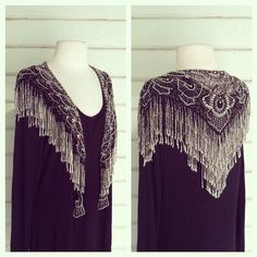 WEBSTA @ squashblossomvintage - amazing 70s-does-deco all beaded fringe shawl capelet, just listed!  We will be shipping out every day through the holidays via USPS priority mail, FYI!