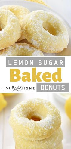 These are the perfect fall or holiday treat for your parties!These Lemon Sugar Baked Donuts are light, citrusy, and generously coated in a crunchy, lemon-zest infused sugar. They are the perfect breakfast or dessert treat for your dinner parties! Köstliche Desserts, Lemon Desserts, Delicious Desserts, Yummy Food, Light Desserts, Baked Donut Recipes, Baked Doughnuts, Baking Recipes, Donuts Donuts