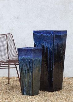 Karena Tall Sq Planter in Falling Blue Cognac Glaze by Campania International