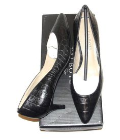 TALBOTS~NIB~CROC EMBOSSED LEATHER~POINTED TOE CLASSIC PUMPS SHOES LOW HEEELS~6W #Talbots #CrocEmbossedLeatherPointedToeClassicPumps