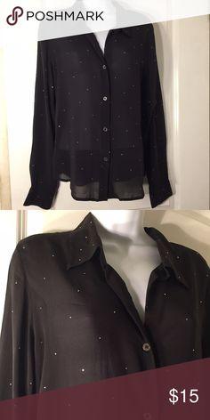 Karen Kane Black Sparkle Sheer Top Long sleeve black sheer top adorned with tiny rhinestones. Size: Petite large. Very good condition. Karen Kane Tops Blouses