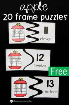 These apple 20 frame puzzles are great for Kindergarten students working on developing their number sense for the numbers 11-20.