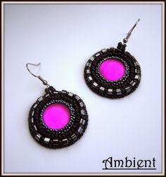 Ambient: # 82 kolczyki z lunasoft earrings with lunasoft, beaded embroidery