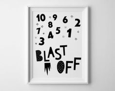 Nursery art illustration, Blast off, Rocket kids art, black and white, scandinavian nursery decor, baby wall art print, universe space print