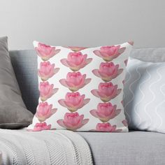 'Beautiful pink lotus flower' Throw Pillow by ErinFCampbell Pink Lotus, Lotus Flower, Designer Throw Pillows, Pillow Design, Vibrant, Flowers, Plants, Beautiful, Plant