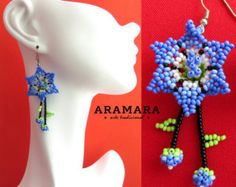 Mexican Huichol Beaded Blue Round Earrings AR-0092 by Aramara