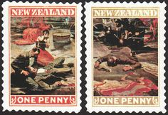 "When New Zealand raised the postal rate from one penny to tuppence, they softened the blow with a series of ""side by side"" 1-penny stamps. The Mayhem issue, with art by Dean Cornwell, was especially popular."