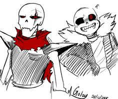 Underfell Papyrus and Sans :3