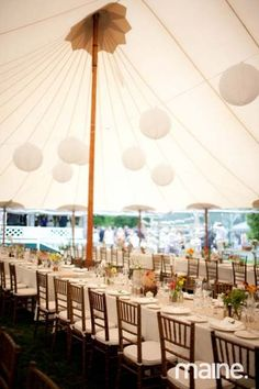 The gorgeous, white tent by Sperry Tent Seacoast at Johnny + Sarah's wedding reception in Biddeford Pool, Maine