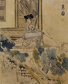 Korean painting of a girl with saenghwang and pipe, by Shin Yun-bok (born 1758)