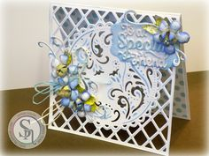 """Sandie Gough - Die'sire Classiques 3D Flower Die set: Forget Me Not - Die'sire Classiques Word Die set: To A Special Friend - Die'sire 6x6"""" Create a Card die - Downton Abbey Ornate Oval Die set (inner stacking die) - Collall All Purpose and Tacky Glue - Distress Ink: Tumbled Glass, Crushed Olive - #crafterscompanion"""