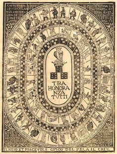 Il novo e piacevole gioco del pela il chiu Humans and owls make up the majority of figures in the four concentric rings surrounding a crowned owl atop a 'triple six' of dice. The inscription language suggests the creator of this anonymous 18th century print comes from the north east of Italy and it may have been published in Parma by Giovanni Battista Panzera. The 't' and the 'p' below the compartmented figures refer to the number of quattrini ('q') that a player was awarded or had to pay…