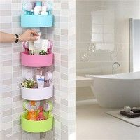 Home | Plastic Suction Cup Bathroom Kitchen Corner Storage Rack Organizer Shower Shelf (Random Holes)