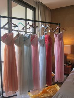 Mixed and matched bridesmaid dresses