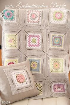Pretty granny square crochet blanket and cushion cover - Privatsachen by epipa: Granny Projekt