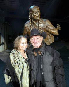 Bobbie and Willie Nelson, Austin, Texas April 20, 2012. Statue Dedication