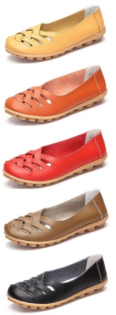 US$16.56 Only Hollow Out Leather Breathable Casual Slip On Moccasin For Women.Shop Today!
