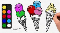 Drawing Ice Cream With Cone For Kids #2 Coloring And Painting It With Ra...