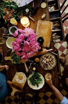 Thorisson's kitchen table (a meal is almost always improved by the presence of wine)