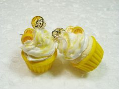 Lemon Drizzle Cupcake Earrings. Polymer Clay.