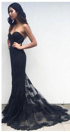 Sweetheart Prom Dresses,Elegant Prom Dresses,Lace Dresses,Modest Prom Dresses,Black Long Strapless Lace Prom Dresses,Prom Gowns,Modest Evening Dresses,Party Dresses