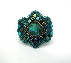 Bead embroidery bracelet, Beadwork bracelet, Bead Embroidery Bracelet, Beaded jewelry cuff, teal, emerald green, winter