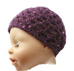Baby Hat Purple Bling Sparkly Sequins Crochet 0 - 3 months Handmade in Ireland Knitted Hats, Crochet Hats, Crochet Baby Clothes, Baby Hats, 3 Months, Originals, Little Girls, Ireland, Crochet Patterns