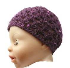 Baby Hat Purple Bling Sparkly Sequins Crochet 0 - 3 months Handmade in Ireland