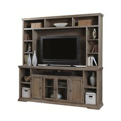 "Calabasas 84"" Television Console with Hutch ❤ liked on Polyvore featuring home, furniture and storage & shelves"