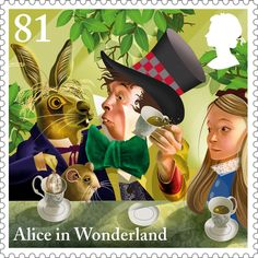 """""""A Mad Tea Party"""" - 81p postage stamp (UK, 2015) from the """"Alice in Wonderland"""" series by award-winning illustrator Grahame Baker-Smith, issued to celebrate the 150th anniversary of the publication of Lewis Carroll's classic children's tale"""