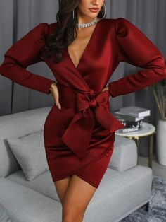 Style:Sexy Pattern Type:Solid Polyester Neckline:V-Neck Sleeve Style:Long Sleeve Decoration:Wrap,Bowknot,Gigot Sleeve Length:Asymmetrical Occasion:Party Package Dress Note:. Elegant Dresses For Women, Dresses For Teens, Modest Dresses, Tight Dresses, Sexy Dresses, Evening Dresses, Casual Dresses, Fashion Dresses, Midi Dresses