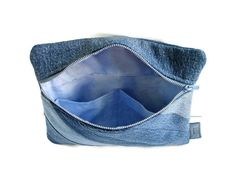 Small Denim Clutch Upcycled Jean Pouch Repurposed Blue Jean