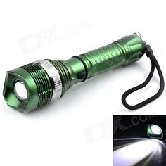 Outdoor Rechargeable 200lm XP-E Q5 LED 3-Mode Cool White Zooming Flashlight - Army Green (1 x 18650). . Tags: #Lights #Lighting #Flashlights #LED #Flashlights #18650 #Flashlights