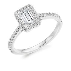 Radiant Cut Scallop Halo Ring - http://www.voltairediamonds.ie/product/melee/radiant-cut-scallop-halo-engagement-ring/