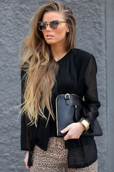 Cool street style sheer blouse leopard bottom