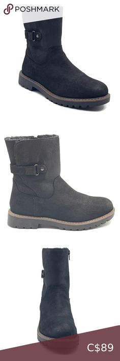 Shenn Boys Girls Buckle Winter Warmers Ankle High Suede Snow Boots Bootie