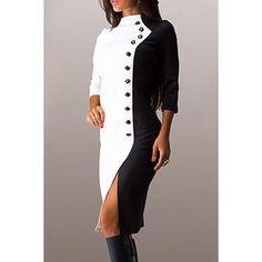 Stand elegante del collo 3/4 abito manica colore delle donne Block - WHITE XL