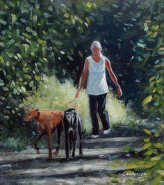Greyhound Art, Italian Greyhound, Anna Wilson, Art Through The Ages, Pastel, Grey Hound Dog, Dog Walking, Animal Paintings, Dog Art