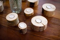 Rustic wood handmade tealight holder - Thanksgiving and Christmas table decorations