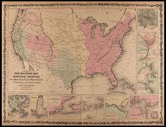 "United States MAP, Civil War, antique home decor, Military, AMERICA 30""x24"""