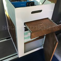 Project: Mobile kitchen block / cabinet for camper VW Bus by HOLZbeidiefische. Vw T3 Westfalia, Vw Bus T5, Volkswagen Bus, Van Storage, Camping Storage, T6 California, T4 Camper, Minivan Camping, Camper Kitchen