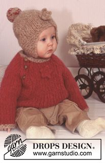 """DROPS Baby 11-23 - Thick jumper and hat in """"Eskimo"""" with crochet flower. Socks in """"Baby Merino"""".  - Free pattern by DROPS Design"""