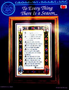 """Cross Stitch Book, By Cross My heart. """"To Every thing There is a Season""""  A Vintage Chart  of Four Seasons Sampler & Border. //On SPECIAL!"""
