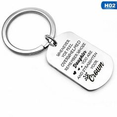 Straighten Your Crown Daughter Key Chain Dog Tag Princess Queen Mom Dad Mother