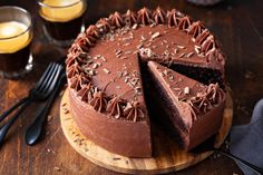 3/4 view of chocolate cake with chocolate frosting on a wooden cake stand with a slice being removed Chocolate Cake With Coffee, Eggless Chocolate Cake, Amazing Chocolate Cake Recipe, Best Chocolate, Chocolate Desserts, Coffee Cake, Chocolate Frosting, Chocolate Dreams, Decadent Chocolate