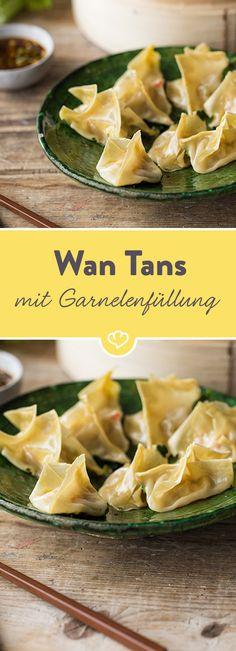 Wir haben die typischen Teigtaschen mit Garnelen und Gemüse gefüllt - und anschließend ganz traditionell im chinesischen Bambusdämpfer gegart.