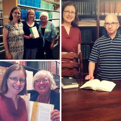 GPO Outreach Librarian Lara Flint visits Federal depository libraries across Pennsylvania.  Bottom left: at State Library of Pennsylvania with Regional Depository Coordinator Kathy Hale. Top left: with Depository Coordinator Susie Zullinger (middle) at #PennState H. Laddie Montague Jr. Law Library. Right: at The #Widener University Commonwealth Law School library.