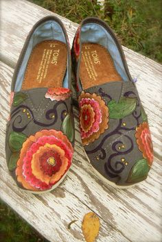 Custom hand painted TOMS bohemian floral by solereflections, $55.00